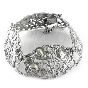 Dutch Nederlans Jugendstil art deco 925 sterling silver zilveren link bracelet schakel armband designer antique antiek floral motives 1.jpg