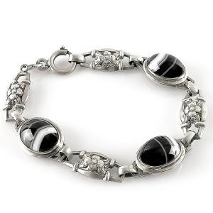 Jugendstil 800 silver zilveren armband bracelet black banded Agate Agaat antiek antique old oude vintage desinger 1.jpg
