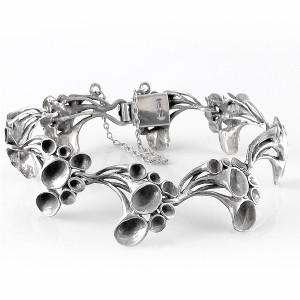 Hannu Ikonen Finland vintage 925 sterling silver zilveren designer schakel armband link bracelet Rendiermos motief Reindeermoss 1970s modernist 1.jpg