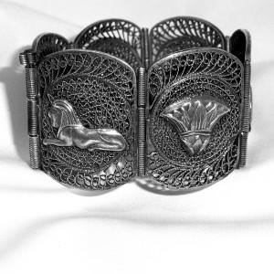 Egyptisch Egyptian brede zilveren armband wide silver marked big link bracelet vintage old antique antiek filligree filigran 1.JPG
