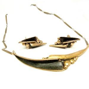Harrie Lenferink bronze brons bronzen Dutch Nederlands set necklace clip earrings collier ketting oorbellen modernist vintage designer sculptural brutalist 1.JPG