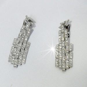 ORA Vintage Art Deco Costume crystal rhodium platerd long clip earrings oorbellen 6.JPG