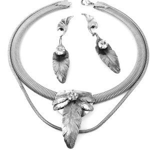 Ermani Bulatti Dutch Nederlands Design vintage costume designer necklace set earrings oorbellen collier ketting silver tone zilver kleurig swarovski 1.jpg