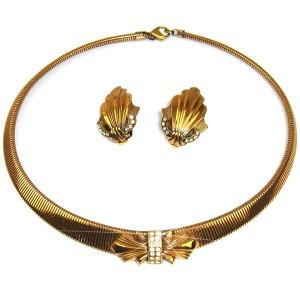 Ermani Bulatti Dutch Nederlands Design vintage costume designer bronze bronzen necklace set earrings oorbellen collier ketting swarovski 1.JPG
