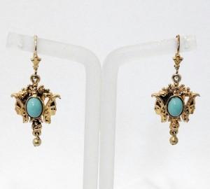 gold over silver vermeil  925 goud over zilveren oorbellen met turquoise stenen art deco costume vintage 1.JPG