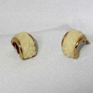 vintage Nina Ricci designer costume earrings gold tone flowers oorbellen goudkleurig bloemen 2.JPG