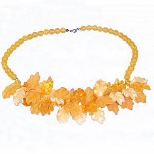 Vintage summer Lucite leaves dangle necklace zomers zomer bladeren kunststof collier ketting designer 1960s 1970s 60er 70er jaren 14.JPG