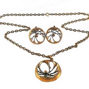 Karl Laine Sten Finfeelings bronze necklace set earrings Finland bronsen ketting hanger clip oorbellen modernist designer brutalist Scandinavian 6a.jpg