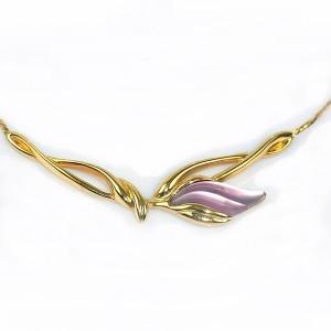 Crown Kroon Trifari Amerika America elegant goudkleurig gold plated vintage flower designer  collier necklace ketting costume 6.JPG