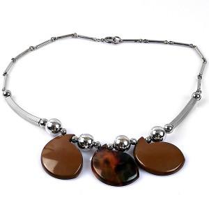 Jacob Bengel Germany Art Deco brown chrome vintage modernist Machine Age designer necklace collier ketting necklace 2.jpg