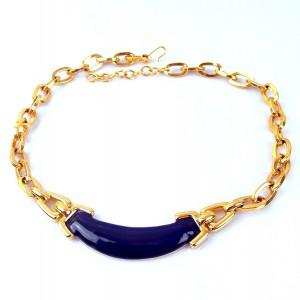 Monet America Amerika vintage massive massief gilded gold plated verguld designer collier necklace blue enamel modernist  80er jaren 1.jpg