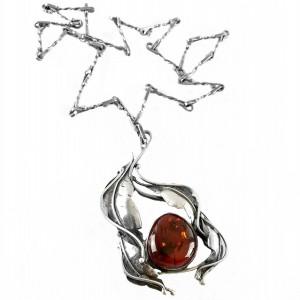 Poolse Polish old oude Vintage Art nouveau stijl style sterling silver 925 zilveren designger necklace penadant collier hanger ketting  barnsteen amber vintage 1.jpg