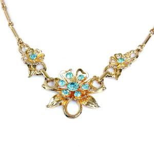 Coro America Amerika vintage designer costume collier ketting necklace aquamarine rhinestones blauwe goldrone gold plated goud kleurig 2.JPG