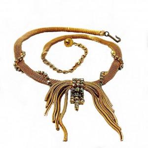 Vintage gold plated goud Mesh rhinestone aurore borealis necklace collier designer costume 1950s 1960 50er 60er jaren 2a.jpg