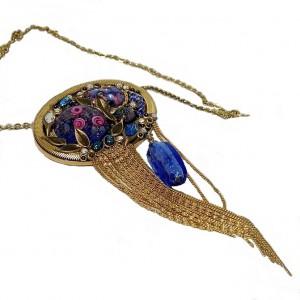 Marena W. Germany Handarbeit vintage Art Deco designer pendant necklace hanger broche collier ketting brooch 1980s 80 er jaren 70er 1970s 3a.jpg