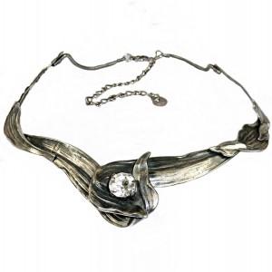 Ermani Bulatti vintage Dutch design designer silver tone antiqued organic shaped necklace collier ketting choker  Nederlands brass metal 6.JPG