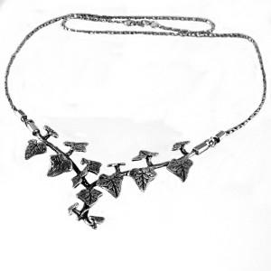 Vintage 925 (=sterling) silver zilveren klimop Hedera Ivy designer necklace collier ketting designer 7.JPG