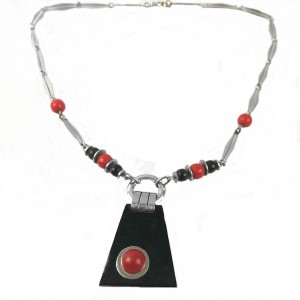 Art Deco Machine Age modernist vintage Jacob Bengel  necklace ketting collier chrome chroom lucite galalith 1a.jpg
