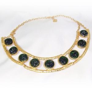 Dolce Vita (Paris) vintage modernist modernistisch designer gold plated goudkleurig collier ketting necklace groene art glasstenen green art glass stones 8.jpg