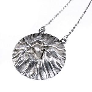 Matti Hyvarinen Finland vintage sterling 925 zilveren silver modernist modernistische designer necklace collier hanger ketting pendant volcane vulkaan crater 1970s 5a.JPG