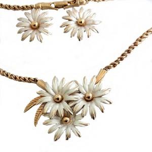 Vintage high quality hoge kwaliteit sieraden set collier ketting clip oorbellen bloemen flower necklace set earrings designer 1950s-1960s 50er 60 er jaren 4aa.jpg