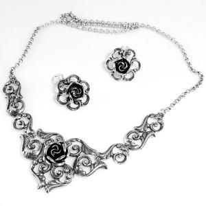 Teka Theodor Klotz Pforzheim Germany Duitsland 925 silver zilverenclip oorbellen collier ketting set necklace earrings rozen roses designer quality kwaliteit7.JPG