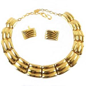 Original Vintage desigener costume jewelry YSL Yves Saint Laurent France adjustable necklace earring set oorbellen collier ketting choker gold tone goudkleurig 2a.jpg