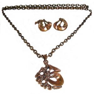 Modernist Vintage Hannu Ikonen Bronze Bronzen Brons set collier necklace pendant ketting clip earrings oorbellen Finland modernist vintage designer 10.JPG
