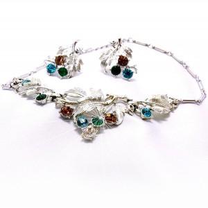 Coro Pegasus vintage necklace set earrings collier ketting oorbellen designer America silver zilver kleurig 8.jpg