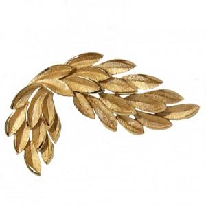 Crown Trifari kroon vintage costume jewelry brooch broche designer America Amerika leaf blaadjes brushed gold tone gematteerd 2a.jpg