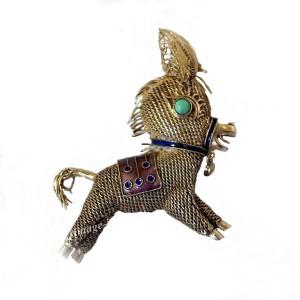 Chinese Export zilveren broche ezel verguld zilver vermeil emaille silver brooch donkey gilded silver real old antique 1930s 1.jpg