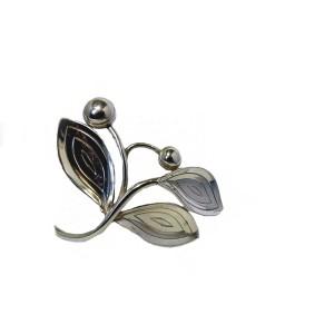 Aarre and Krogh Denmark Sterling Silver Modernist Leaf Brooch Vintage Designer broche zilveren blad Denemarken 2a.jpg