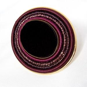 Langani Duitsland Anni Schaad Germany 1980s 80er jaren brooch broche oval ovale obergine kleurig bordeaux rood burgundy vintage designer 1.jpg