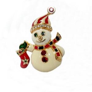 Franklin Mint Jewels of Christmas Snowman pin brooch Kenneth Jay Lane 1997 vintage Kerst broche sneeuwpop  4.jpg