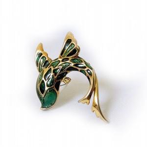 Craft vintage Fish magical brooch vis designer broche enamel emaille 1a.jpg