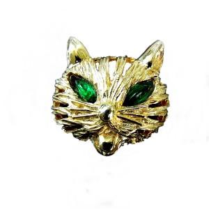 Kramer of New York zeldzame vintage katten hoofd broche goudkleurig cat brooch goldtone 2.jpg