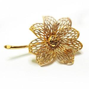 Monet vintage designer broche brooch gold tone goudkleurig bloem flower 4.jpg