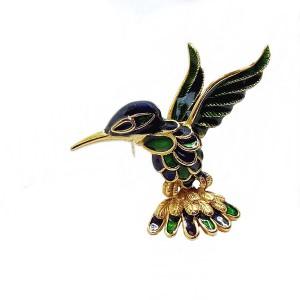 Hummingbird Kolibrie vintage broche brooch enamel emaille green blue groen blauw goltone goudkleurig designer costume 2.jpg