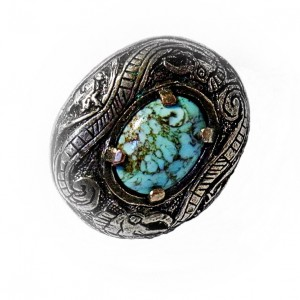 Miracle Scotland Schotland vintage designer brooch broche silver tone zilverkleurig blue  turkoise steen stone 2a.jpg