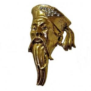 Thelma Deutch vintage gold tone metal goudkleurig metaal Designer costume jewelry Asian man men Chinese 1a.jpg