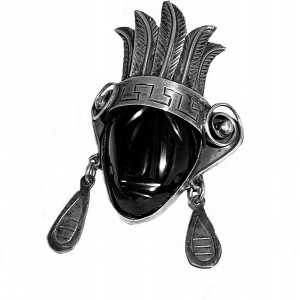 Mexico Taxco 925 sterling silver zilver broche brooch pendant hanger mask face gezicht onyx vintage art deco 1950s tribal 2.jpg
