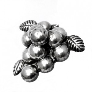 Grote Mexico 925 zilveren druiven tros broche grape brooch old oude vintage taxco 4.jpg
