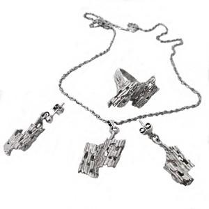 Black Hills sterling silver zilveren 925 vintage necklace set necklace pandant ring earrings oorbellen ring hanger ketting collier designer modernist brutalist USA Amerika united states 4.JPG