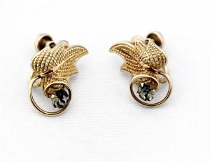 Gold filled 1 20 14 k screw back earrings with smokey rhinestone Vintage Costume oorbellen 1.jpg