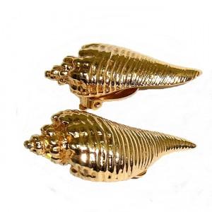 Nina Ricci Paris Parijs vintage designer clip earrings oorbellen haute couture shell shaped schelp gold plated goud metaal metal 5a.jpg