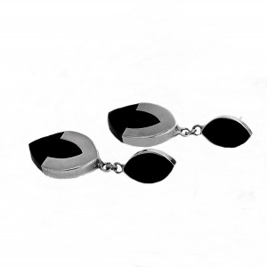 Mexico Mexican Taxco 925 sterling silver zilveren earrings oorbellen onyx designer vintage modernist 3.jpg