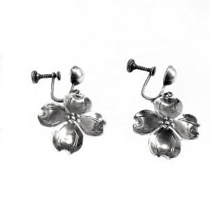 Stuart Nye America Amerikaanse vintage sterling silver zilveren srew back earrings schroef oorbellen dogwood bloom vintage designer 1.jpg