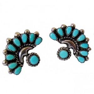 Zuni Native American Indiaanse zilveren Petit Point Turkoise Turquoise clip earrings oorbellen vintage designer tribal T W 1a.jpg