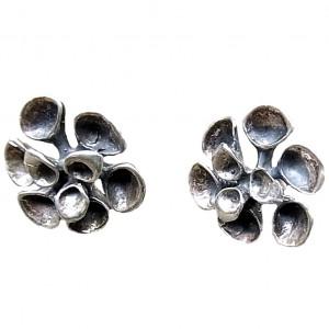 Hannu Ikonen Finland sterling silver 925 zilveren oorbellen earrings stud oorstekers 2 reindeer moss rendier mos vintage modernist scandinavian 4a.jpg