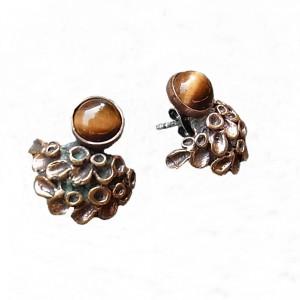 Hannu Ikonen Finland bronze bronzen oorstekers oorbellen earrings tiger eye tijgeroog reindeer moss rendier mos vintage modernist scandinavian 2.jpg